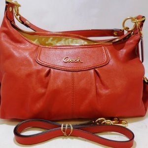 COACH Orange Ashley Hobo leather Bag F19761